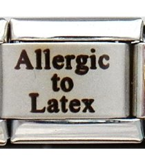 allergic to latex medical alert for italian charm bracelets + wallet card