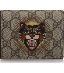 gucci gg supreme angry cat card holder brown, beige, multi sz: