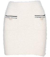 self-portrait self portrait fluffy knit mini skirt