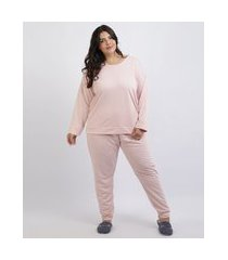 pijama de moletom feminino plus size blusa manga curta decote redondo rosa claro