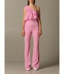 be blumarine dress be blumarine one-shoulder jumpsuit in cady and chiffon