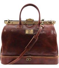 tuscany leather tl141185 barcellona - borsa da viaggio in pelle con doppio fondo marrone