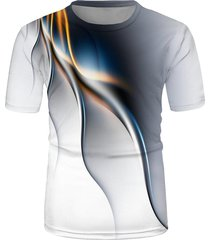 abstract line print crew neck short sleeve t shirt