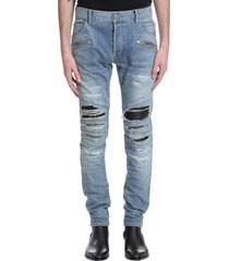 balmain jeans in cyan denim