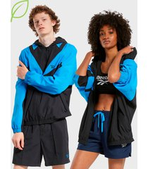 cortaviento reebok cl tracktop (ree)cycle azul - calce regular