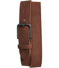 men's canali nubuck leather belt, size 32 - brown