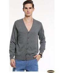 cardigan suéteres manga larga gaupucean para hombre-gris