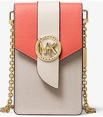 mk borsa a tracolla piccola in pelle saffiano tricolore per smartphone - pnkgrpft mlt - michael kors