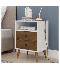 kit 2 mesa de cabeceira retrô  domus - branco / malbec - rpm móveis