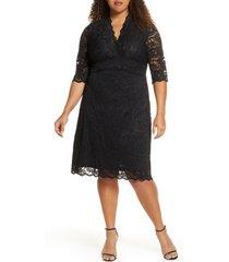 plus size women's kiyonna scalloped boudoir lace sheath dress, size 3x - black
