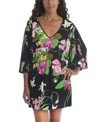 women's trina turk moonlit lotus cover-up tunic, size small - black