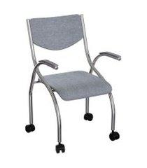 cadeira de escritório secretária colorado estofada cromada e cinza