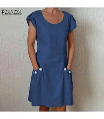 zanzea para mujer de manga corta del cuello de o floja ocasional camiseta de algodón vestido más del tamaño -azul
