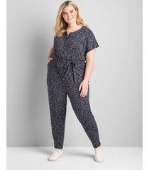 lane bryant women's dolman-sleeve button-front peg leg jumpsuit 18/20p navy space dye