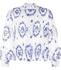 simone rocha pleated high-collar blouse - white