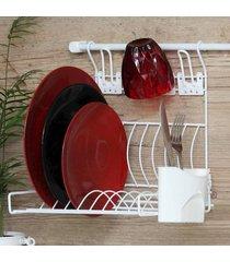 escorredor de louça suspenso parede com porta talheres e porta copos - kanui