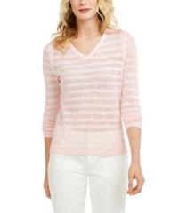 tommy hilfiger striped pointelle-knit cotton sweater
