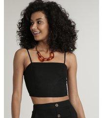 top faixa feminino em linho com franzido alças finas preto