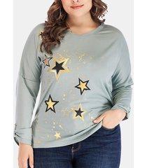 camicetta casual da donna taglia plus a manica lunga con scollo a stella