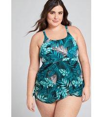 lane bryant women's mesh no-wire swim dress 14 desert palms