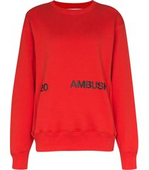 ambush logo-print cotton sweatshirt - red