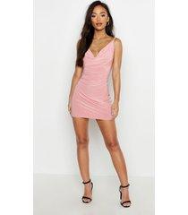 petite strakke mini jurk met waterval hals, rose