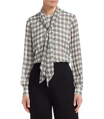 sheer prince of wales plaid blouse