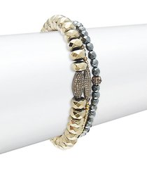 3-piece sterling silver, pyrite, hematite & diamond bracelet set