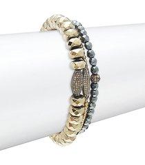 3-piece sterling silver, pyrite, hematite & diamond bracelet set