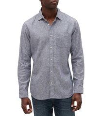 camisa lino blend azul gap