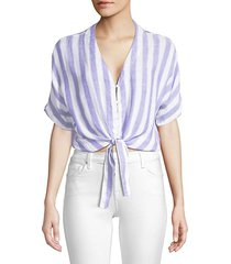 thea tie-front striped blouse