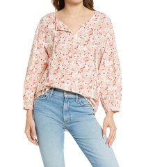 caslon(r) tie front popover top, size x-small in pink- ivory floral camo at nordstrom