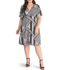 kiyonna florence flutter sleeve dress, size 3x in gingham and stripes at nordstrom
