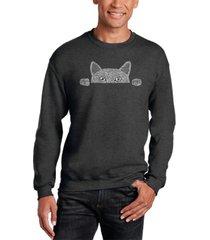men's peeking cat word art crewneck sweatshirt