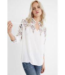 boho blouse pom poms - white - xs