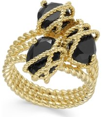 charter club gold-tone stone cluster triple-wrap ring, created for macy's