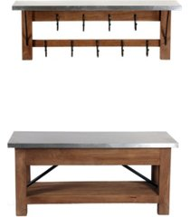 alaterre furniture millwork wood and zinc metal bench with open coat hook shelf