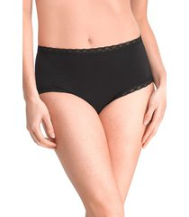natori bliss full brief panty underwear intimates, women's, black, cotton, size l natori