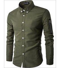 button doen zipper decorazione manica lunga camicia per uomo