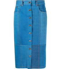 marine serre all-over moon print skirt - blue