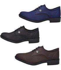 kit 3 pares sapato oxfords masculino amarração casual - masculino