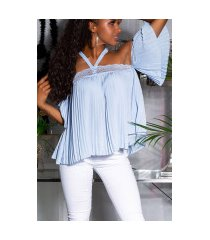 sexy off-shoulder blouse met kant blauw