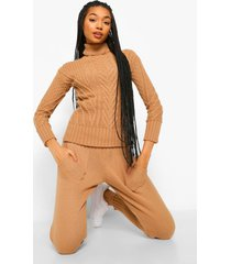cut out detail sweater and legging co-ord, camel