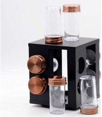 porta condimentos giratório inox bronze 8 peças - mimo style