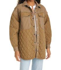 women's frame oversize shirt jacket, size xx-small/x-small - green