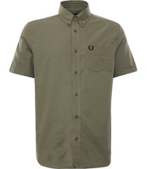 fred perry short sleeve oxford shirt   sage   m2701-h04