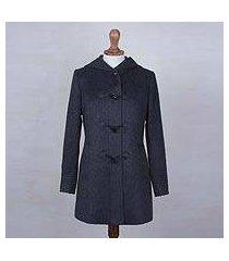 alpaca blend coat, 'peruvian warmth in graphite' (peru)