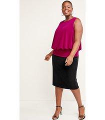 lane bryant women's scuba midi pencil skirt 22 black