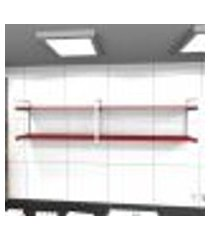 prateleira industrial lavanderia aço branco 180x30x40cm cxlxa cor mdf vermelho modelo ind40vrlav