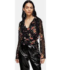 floral printed sheer wrap blouse - black